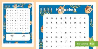 Hanukkah Word Search - Hanukkah, Jew, Judaism, celebration, light, festival