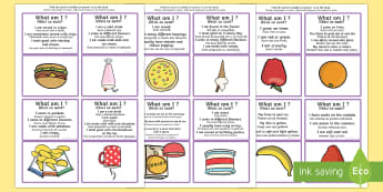'What Am I?' Guessing Game Cards Food Themed English/Romanian