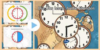 Die Uhr lesen: halbe Stunden PowerPoint Präsentation  - Uhrzeit, Zeit, Stunde, Minute, halb, viertel vor,,German
