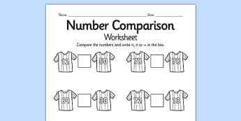 Footall Number Comparison Worksheet Differentiated - football, euro 2016