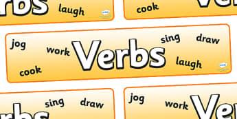 Verbs Display Banner - verbs display banner, verbs, verb, display, banner, sign, poster, type, English, grammar, word, words