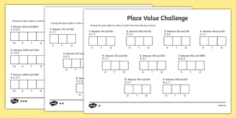 Place Value Challenge Activity Sheet - place value, place value worksheet, ks2 maths worksheet, place value challenges, work with place values, make the number