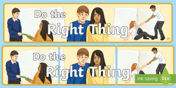 Do the Right Thing Banner - Behaviour, Classroom Management, Display, Motivation, Banner
