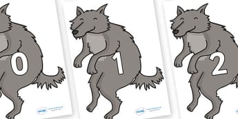 Numbers 0-50 on Wolf - 0-50, foundation stage numeracy, Number recognition, Number flashcards, counting, number frieze, Display numbers, number posters