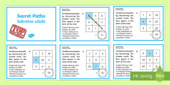 Secret Addition Number Paths Challenge Cards English/Polish - adding, numeracy, challange, +, adition, numracy, additon,