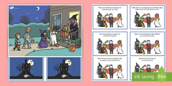 Halloween Scene and Question Cards English/Hindi - trick or treat, horror ,potion, black night, cat, witch