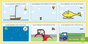 Transport Playdough Mats - Transport, Playdough, mat, car, van, lorry, bike, motorbike, plane, aeroplane, tractor, truck, bus