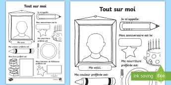 Feuille d'activités : Tout sur moi-French - Rentrée, Informations, Renseignements, Personnel, Élève, Cycle 1, cycle 2, Moi, Me,French