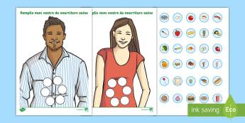 Feuille d'activités : Remplis mon ventre - La nourriture saine - alimentation, saine, food, healthy eating, santé,nourriture, manger, régime alimentaire, cycle 2,