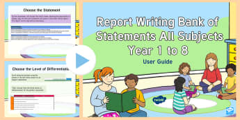 New Zealand Report Writing Bank of Statements Years 0 to 8 Guidance PowerPoint - Assessment, Reports, Mid-Year, End of Year, New Zealand, Guidance, Report Bank, Powerpoint