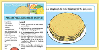 Pancake Playdough Recipe and Mat - pancake, playdough, mat, recipe, sensory