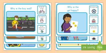 Why and Because Scene and Question Cards - 'Why' and 'Because'  Scene and Question Cards, Asking questions, Why and Because questions a