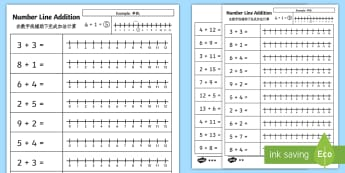 Addition up to 12 Number Line Activity Sheets English/Mandarin Chinese - Addition up to 12 Number Line Worksheets - addition, numberline , +, adition, additon, activity shee