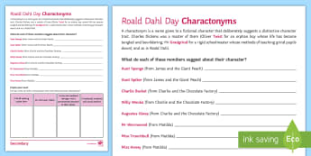 Charactonyms Activity Sheet - roald Dahl Day, character, James and the Giant Peach, Charlie and the Chocolate Factory, Matilda, KS