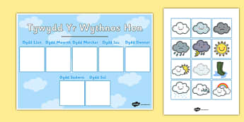 Tywydd Yr Wythnos Hon - cymraeg, weather, weather calendar, weekly weather calendar, weakly weather chart, weekly weather display, this weeks weather