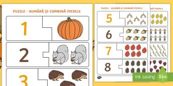 Numere pe tema toamnei Puzzle - numerație, jocuri, matematică, activități de toamnă, fișe,Romanian