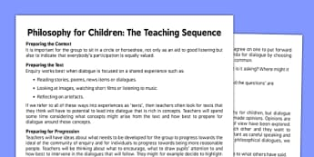 Philosophy for Children - Teaching Sequence - philosophy, children
