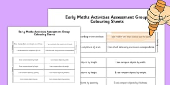 1999 Curriculum Junior Infants Early Maths Activities Assessment Group Colouring Sheets - roi, irish, gaeilge, assessment, checklist, maths, junior infants, early mathematical activities