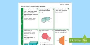 Higher: Geometry and Measure (Calculator) Activity - GCSE, revision, using applying, reasoning fluency, problem solving, Higher, geometry and measure, ca