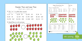 Greater Than and Less Than Worksheets US English/Spanish (Latin) - Greater Than Less Than Worksheets Differentiated - greater than and less than worksheets, greater th