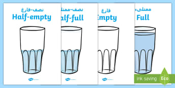 Capacity Display Posters (Cups) Arabic/English - volume, full, empty, half, cup, water, EAL,