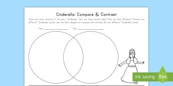 Cinderella: Compare and Contrast Activity Sheet - Cinderella, Fairy Tales, Common Core, Venn Diagram, Compare, Contrast, worksheet