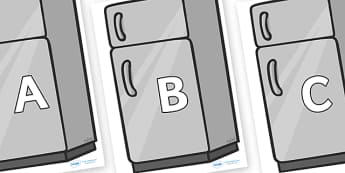 A-Z Alphabet on Fridges - A-Z, A4, display, Alphabet frieze, Display letters, Letter posters, A-Z letters, Alphabet flashcards