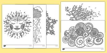 Coloriages anti-stress : La météo - arts plastiques, arts, couleurs, cycle 1, cycle 2, cycle 3, météo, temps, weather
