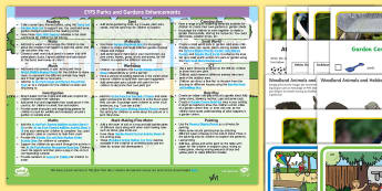 EYFS Parks and Gardens Enhancement Ideas and Resources Pack - Early Years, early years planning, continuous provision, adult led, parks, gardens, plants, growth, everyday life