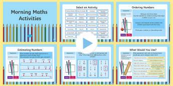 Morning Maths Activities PowerPoint-Australian - Year 3, Year 4, maths, mathematics, numeracy, problem solving, addition, subtraction, multiplication