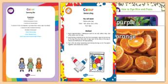 Colour Sensory Bin and Resource Pack - colours, color, sensory tray, truuf spot, tuff tray