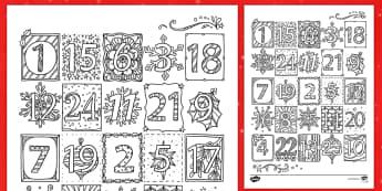 Christmas Mindfulness Elegant Advent Calendar Coloring Activity - Christmas, color, coloring, advent, calendar, art, activity