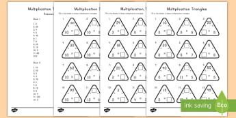 Multiplication Triangles 2, 5 and 10 Times Activity Sheets - triangles, math, multiplication, 2,5, 10, times, activity sheets, Worksheets