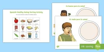 Healthy Eating Sorting Activity Sheet Spanish - Spanish, Vocabulary, KS2, healthy, food, sorting, eating, activity, sheet, worksheet ,Scottish