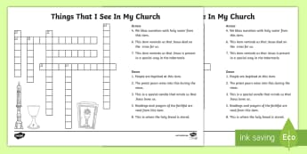 Things that I see in my church Crossword - Confession & First Communion Resources,Irish