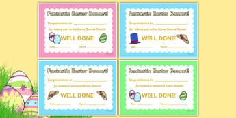 Easter Bonnet Reward Certificates - Easter bonnet award, Easter, reward, award, certificate, medal, rewards, school reward, Easter, bible, egg, Jesus, cross, Easter Sunday, bunny, chocolate, hot cross buns