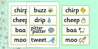 Spring Onomatopoeia Word Cards - spring, onomatopoeia, literacy