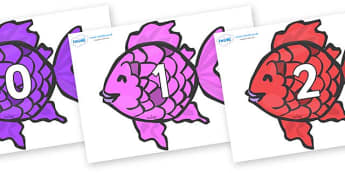 Numbers 0-100 on Fish to Support Teaching on The Rainbow Fish - 0-100, foundation stage numeracy, Number recognition, Number flashcards, counting, number frieze, Display numbers, number posters