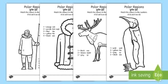 Polar Regions Colour by Number Counting Activity Sheets English/Hindi - Polar Regions Colour by Number Counting Activity Sheet, worksheet, - polar regions, colour by number