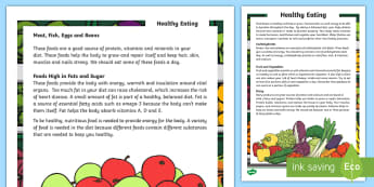 Healthy Eating Reading Comprehension Assessment Activity - test, english, non-fiction, questions, answers