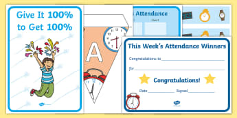 Whole School Attendance Display Pack - weekly, percentage, class, hall display, door display,