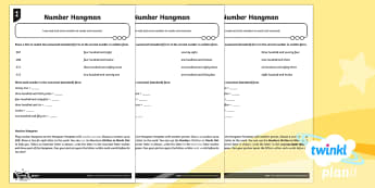 PlanIt Y3 Number and Place Value Number Hangman Differentiated Home Learning Tasks - Number and Place Value, game, problem solving, maths mastery, year 3, fun maths, hundreds, tens, one