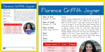 USA Olympians Florence Griffith Joyner Fact File