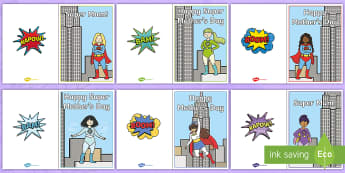 Superhero Mother's Day Cards - superhero, mother, supermum, superhero mum, greetings, card, happy mother's day,