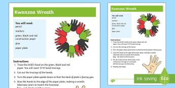 Kwanzaa Wreath Craft Instructions - Kwanzaa, tradition, African American, heritage,