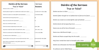 Deirdre of the Sorrows True or False? Activity Sheet - ROI, reading, history, myths, legends, history, Worksheet, reading, english, Irish history, true or