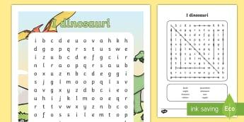 I dinosauri Parole Intrecciate - parole, trova, lettere, intrecciate, dinosauri, italiano, italian, materiale, scolastico
