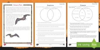 Vampire Bat Reading Activity -  Halloween, Reading Comprehension, non-fiction, reading response,