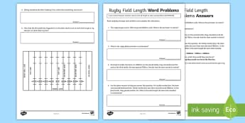 Rugby Field Length Word Problems Activity Sheet - Australian Sporting Events Maths, ACMMG136, length, convert length, convert common units of length,