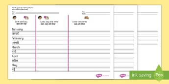 Months of the Year Writing Practice Activity Sheets English/Hindi - Months of the Year Writing Practice Worksheets - practice, write, worksheets, months of the yearengl